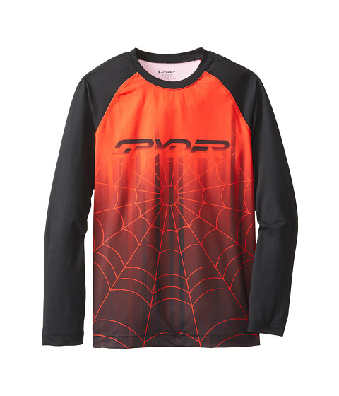 Spyder Kids - Sprinter L/S Top (Little Kids/Big Kids) (Black/Volcano) Boy's Long Sleeve Pullover