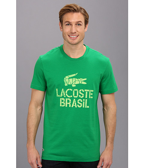 Lacoste - Rio Distressed Lacoste Brazil Graphic Crew Neck Tee (Chlorophyll/White) Men's T Shirt