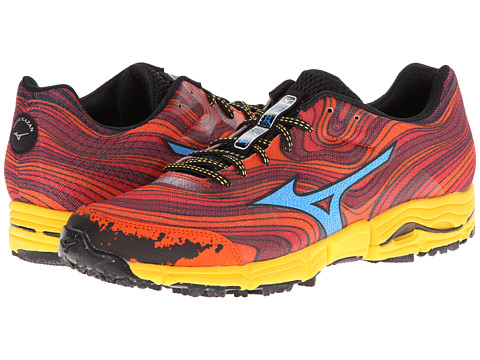 Mizuno - Wave Kazan (Chinese Red/Dude Blue/Spectra Yellow) Men's Running Shoes