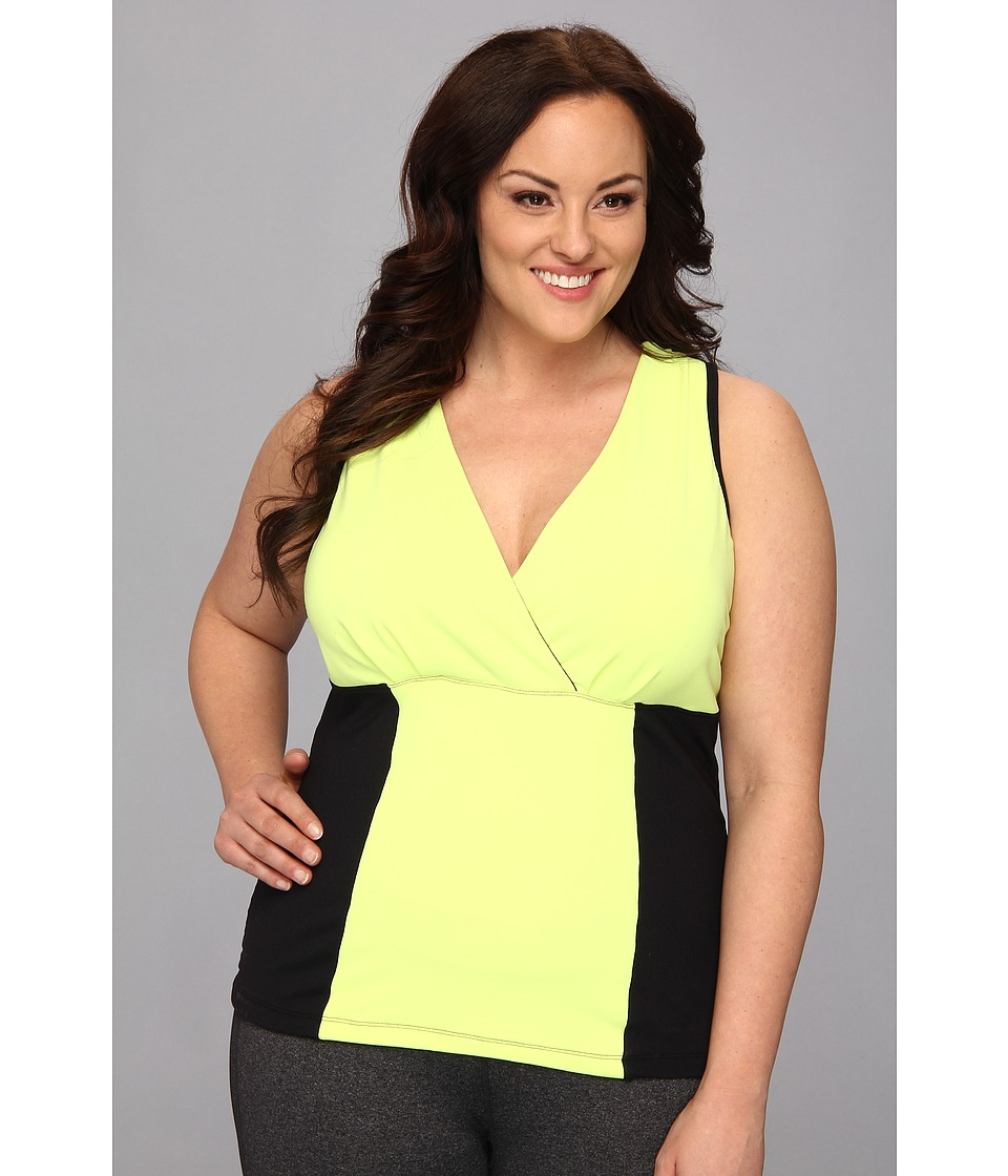 MSP by Miraclesuit - Plus Size Color Block Tank with Interior Bra and Core Control (Yellow Limeade) Women