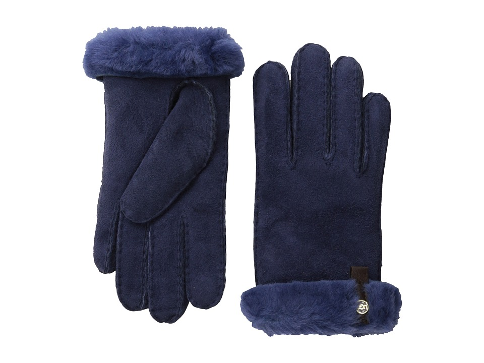 UGG - Tenney Glove with Leather Trim (Peacoat M) Dress Gloves
