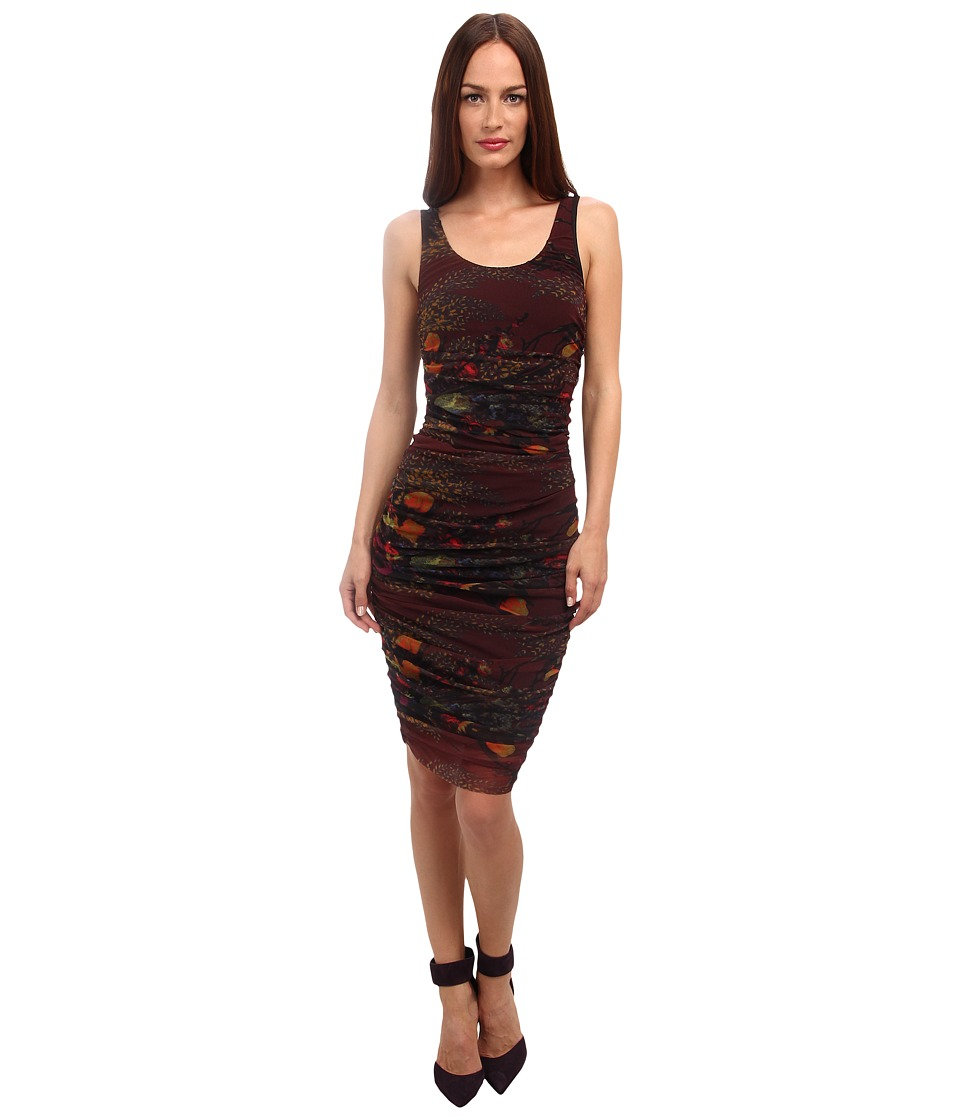 Jean Paul Gaultier - Floral Tulle Ruched Tank Dress (Marsala) Women's Dress