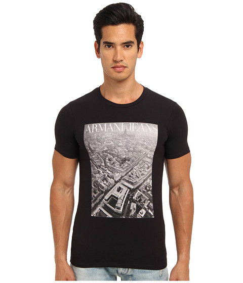 Armani Jeans - Milan Graphic Tee (Blue) Men's Short Sleeve Pullover