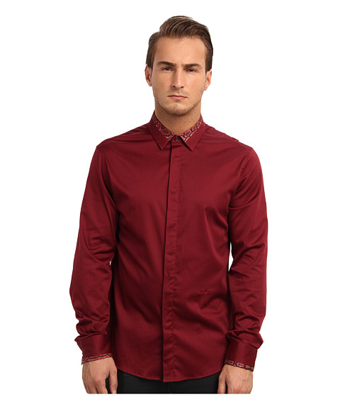 Just Cavalli - Long Sleeve Dress Shirt 248 (Bordeaux) Men's Long Sleeve Button Up