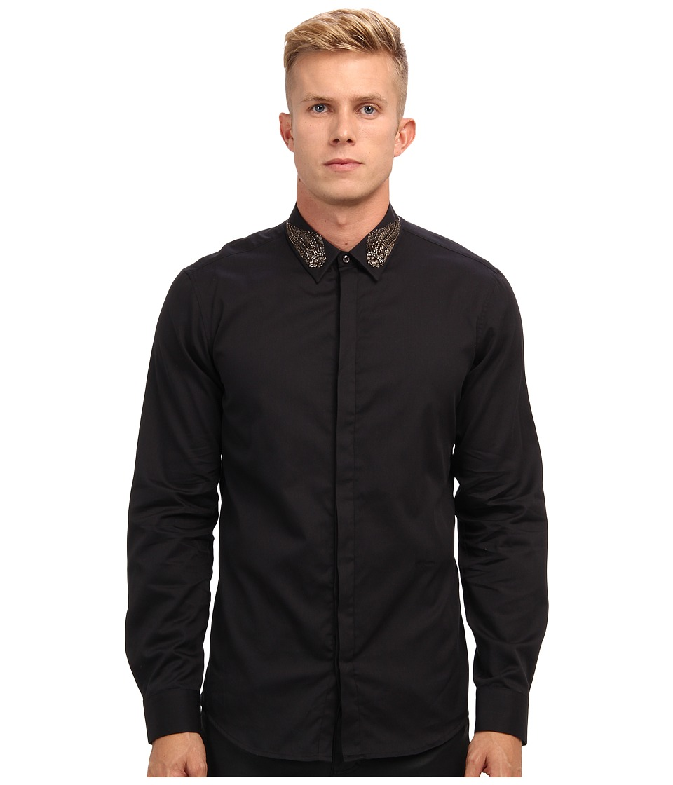 Just Cavalli - Embellished Collar Button-Up (Black) Men's Clothing
