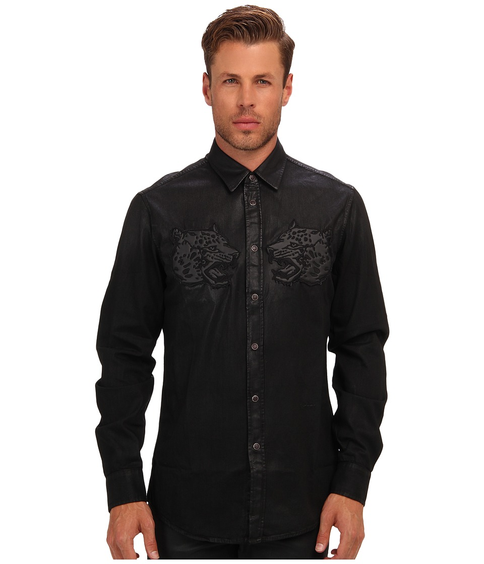 Just Cavalli - Coated Denim Button Up (Black Denim) Men