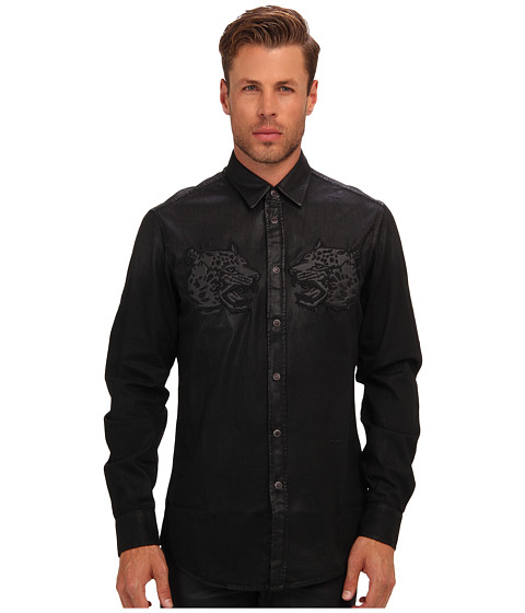 Just Cavalli - Coated Denim Button Up (Black Denim) Men's Clothing