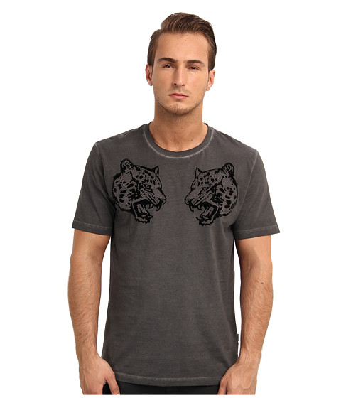 Just Cavalli - Twin Cheetahs Tee (Dark Charcoal) Men's Short Sleeve Pullover