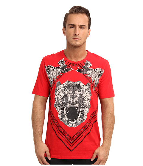 Just Cavalli - Roaring Lion Tee (Red) Men's Short Sleeve Pullover