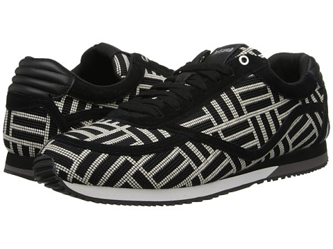 Just Cavalli - Geometric Pattern Fabric Low-Top Sneaker (Black/White) Men's Shoes