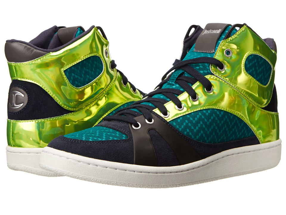 Just Cavalli - Zig-Zag Mesh Fabric Hi-Top Sneaker (Emerald) Men's Shoes