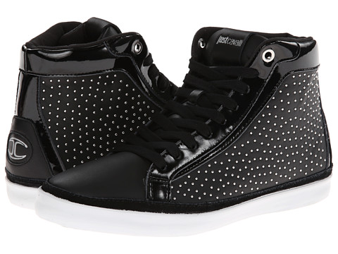 Just Cavalli - Soft and Patent Leather Hi-Top Sneaker (Black) Men's Shoes