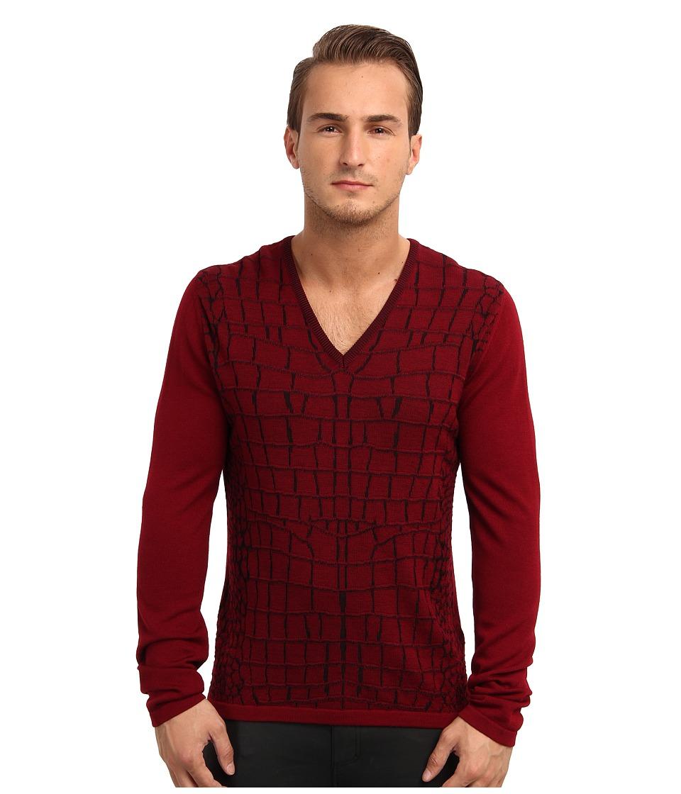 Just Cavalli - Cracked Sweater (Bordeaux/Black) Men's Sweater