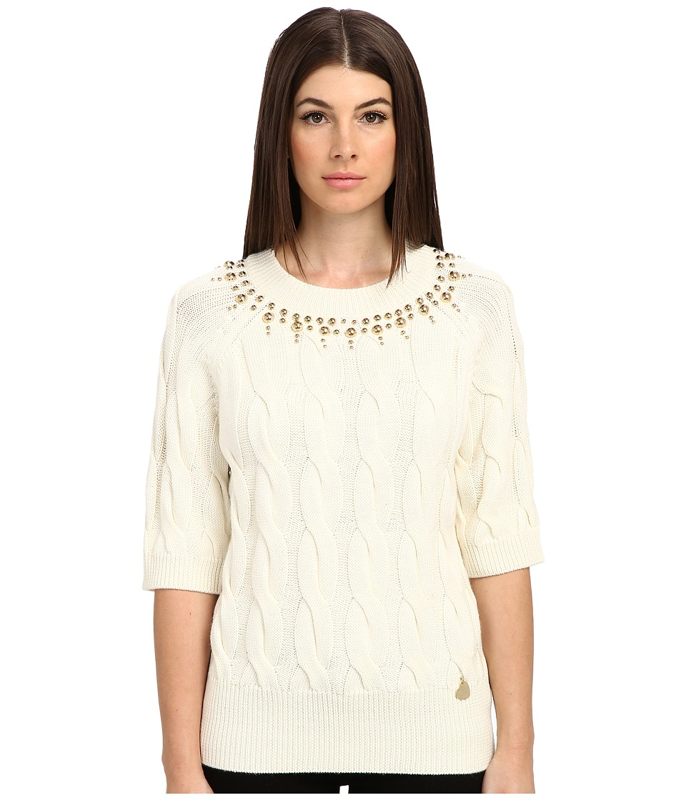 LOVE Moschino - Sweater With 3/4 Sleeves And Gold Studs Around Collar (Cream) Women's Sweater