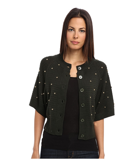 LOVE Moschino - Knit Button Down Cardigan With Gold Studs (Green) Women's Sweater