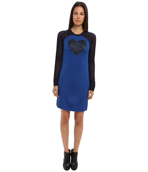 LOVE Moschino - Heart Glitter Sweater Dress (Blue/Black) Women's Dress