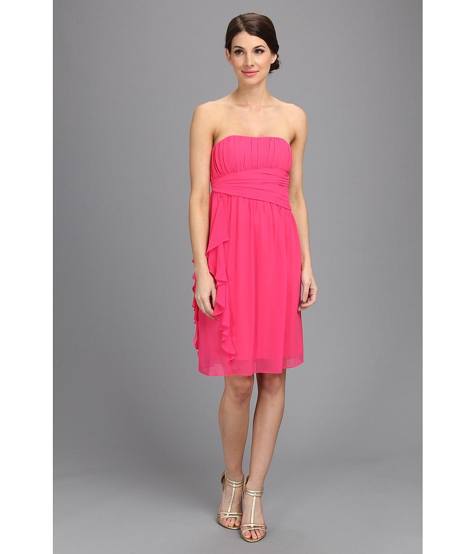 Donna Morgan Strapless Chiffon W Cascade Dress Womens Dress (Red)