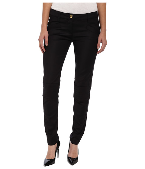 LOVE Moschino - Gold Heart Button Pants with Knee Detail (Black) Women's Casual Pants