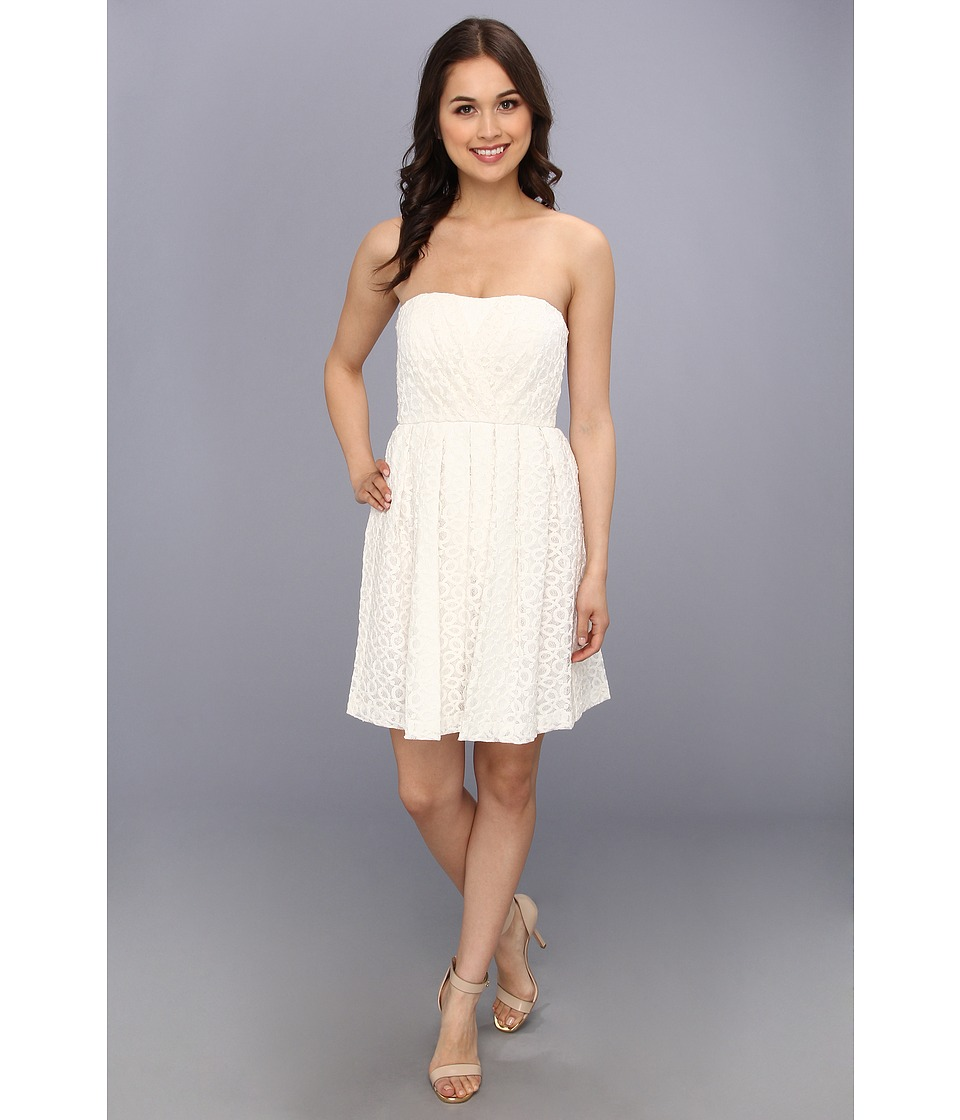 Donna Morgan - Strapless Lace With Pleated Skirt Dress (Ivory) Women