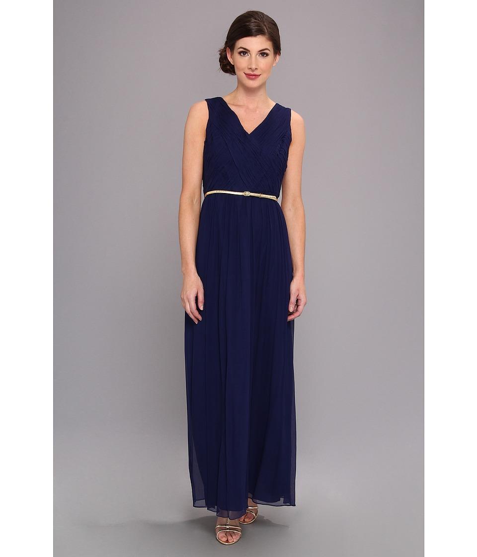 Donna Morgan V Neck Long Chiffon Gown Dress Womens Dress (Navy)