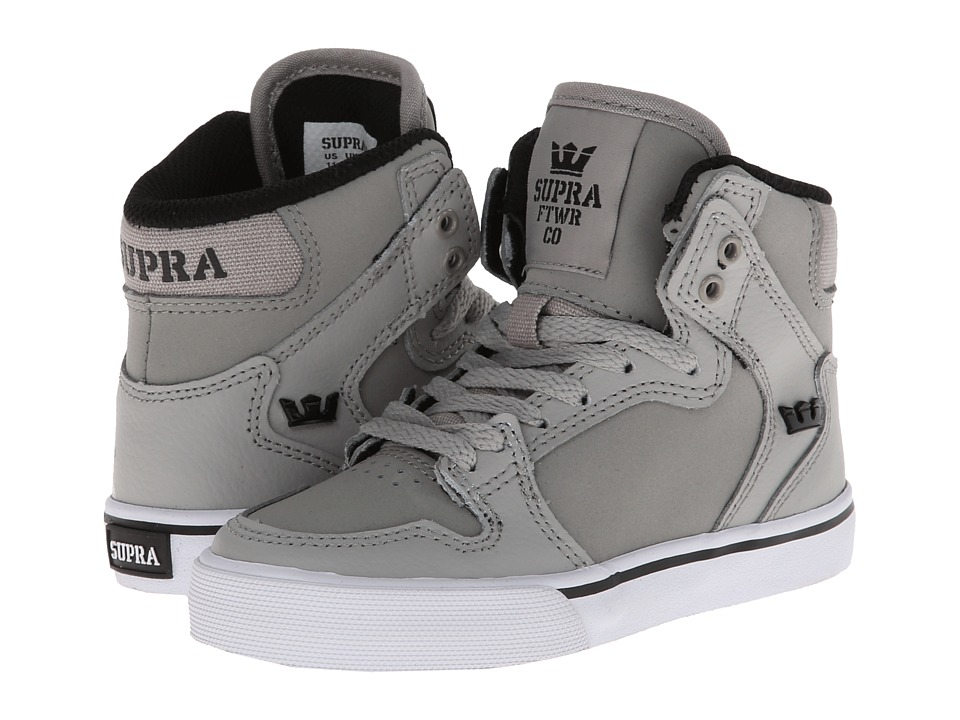 Supra Kids - Vaider (Little Kid/Big Kid) (Grey/Black/White) Kids Shoes