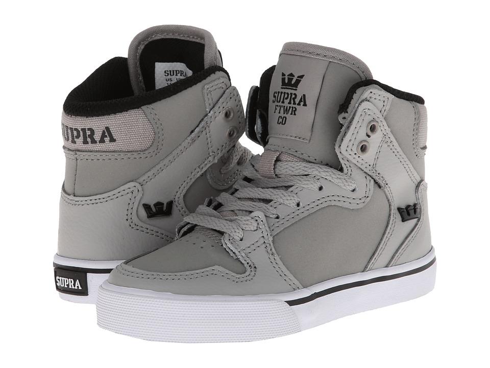 Supra Kids - Vaider (Little Kid/Big Kid) (Grey/Black/White) Kids Shoes