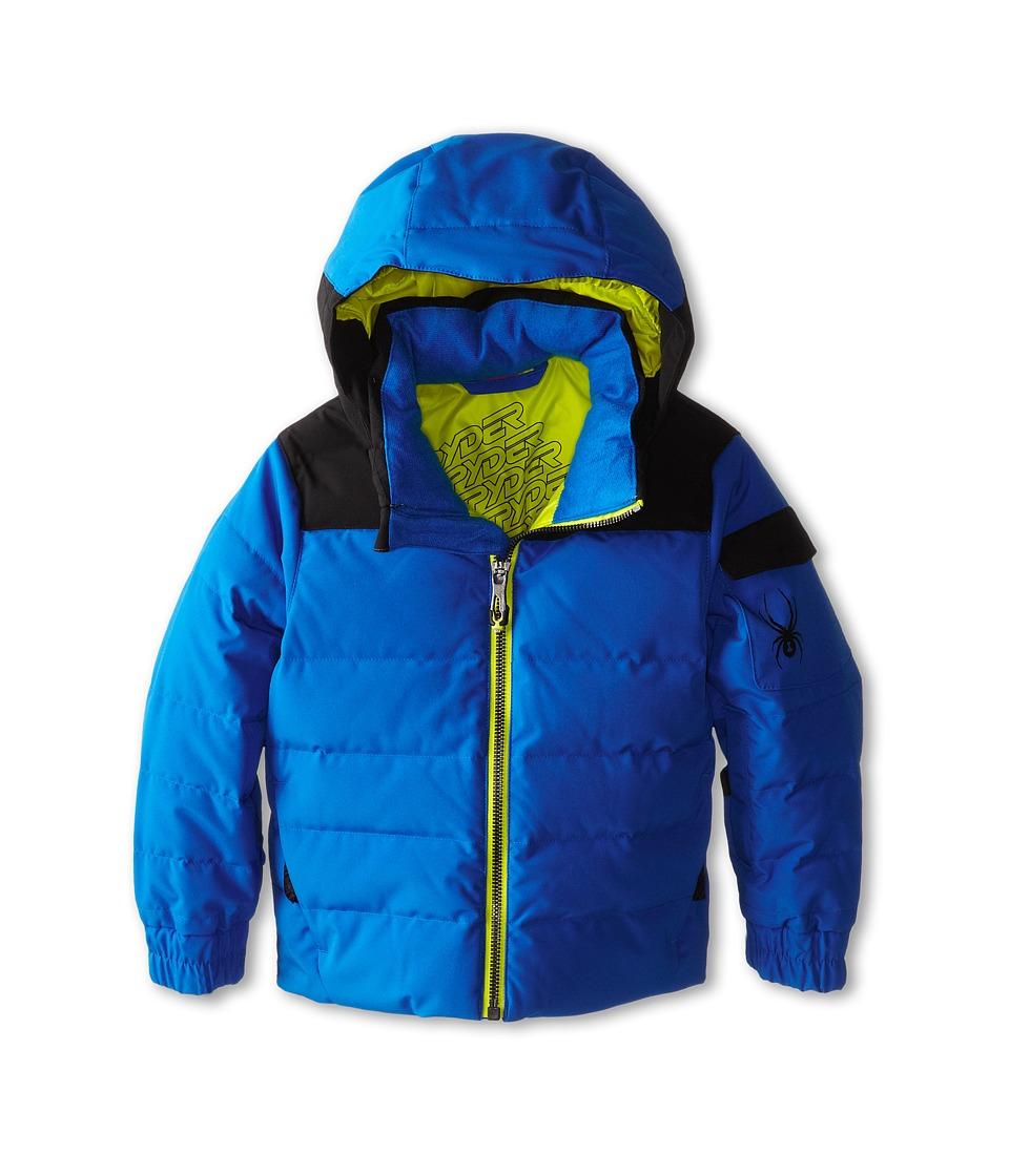 Spyder Kids - Mini Clutch Down Jacket (Toddler/Little Kids/Big Kids) (Stratos Blue/Black/Acid) Boy's Coat