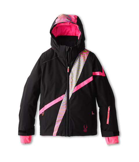 Spyder Kids - Tresh Jacket (Big Kids) (Black/Pure Linear Gradient/Bryte Bubblegum) Girl