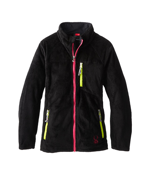 Spyder Kids - Caliper Fleece Jacket (Big Kids) (Black/Girlfriend/Sharp Lime) Girl