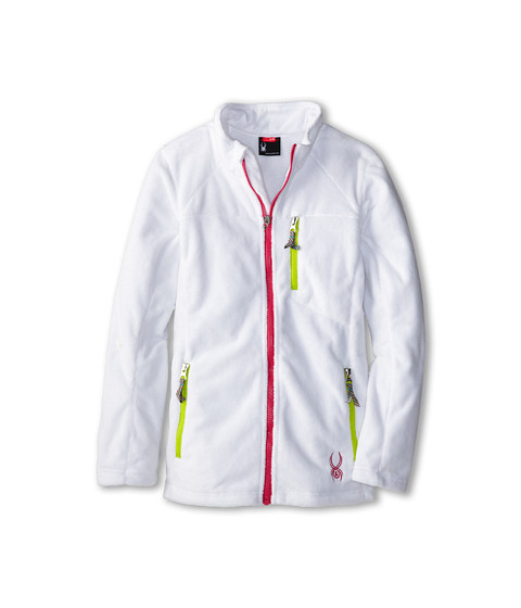 Spyder Kids - Caliper Fleece Jacket (Big Kids) (White/Girlfriend/Sharp Lime) Girl