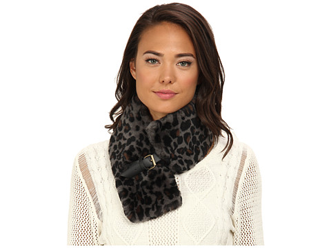 UGG - Leopard Rosette Collar with Leather Trim (Black M) Scarves