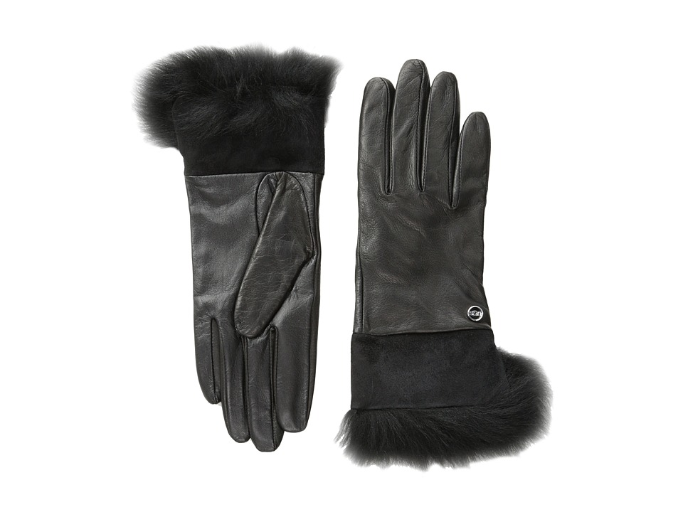 UGG - Quinn Glove with Toscana Trim (Black M) Dress Gloves