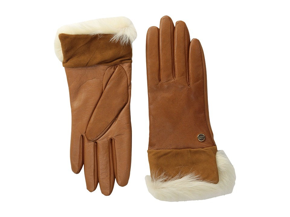 UGG - Quinn Glove with Toscana Trim (Chestnut M) Dress Gloves