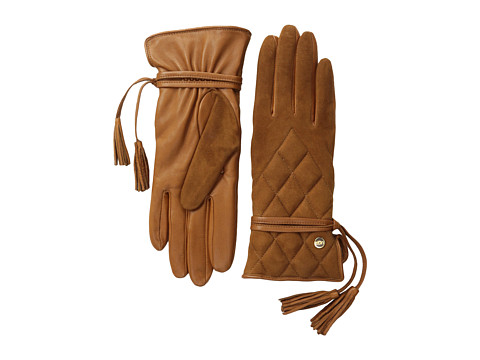 UGG - Ophira Quilted Glove with Tassel (Chestnut M) Dress Gloves