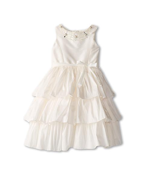 Us Angels - Silky Taff Tier Dress w/ Beaded Neck (Little Kids) (Ivory) Girl