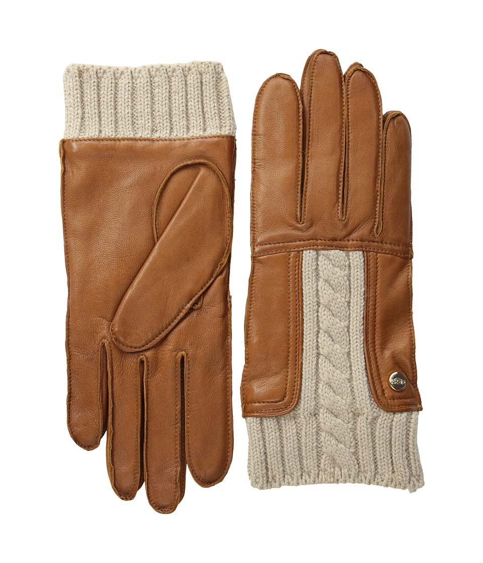 UGG - Alexis Glove with Cable Knit Trim (Chestnut M) Dress Gloves