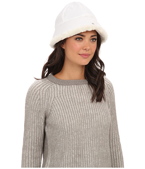 UGG - Lorien Cloche with Shearling Trim 14 (White) Traditional Hats