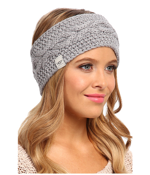 UGG - Nyla Cable Headband With Lurex (Grey Heather M) Traditional Hats