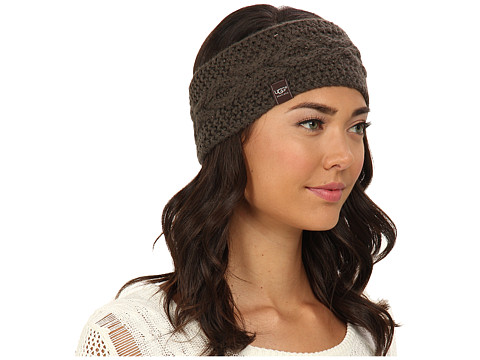 UGG - Nyla Cable Headband With Lurex (Forest Night M) Traditional Hats