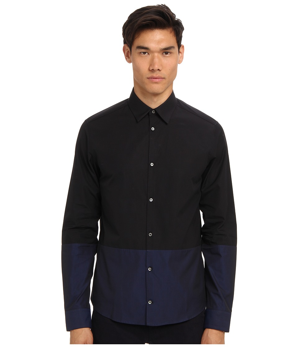 CoSTUME NATIONAL - Color Block Button Up Shirt (Blue/Black) Men's Long Sleeve Button Up