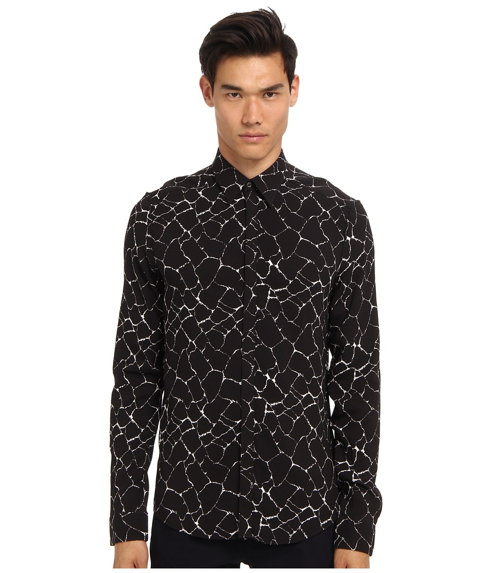 CoSTUME NATIONAL - Printed Button Up Shirt (White/Black) Men's Long Sleeve Button Up