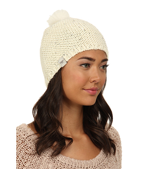 UGG - Lyla Sequin Beanie with Pom (Cream M) Knit Hats
