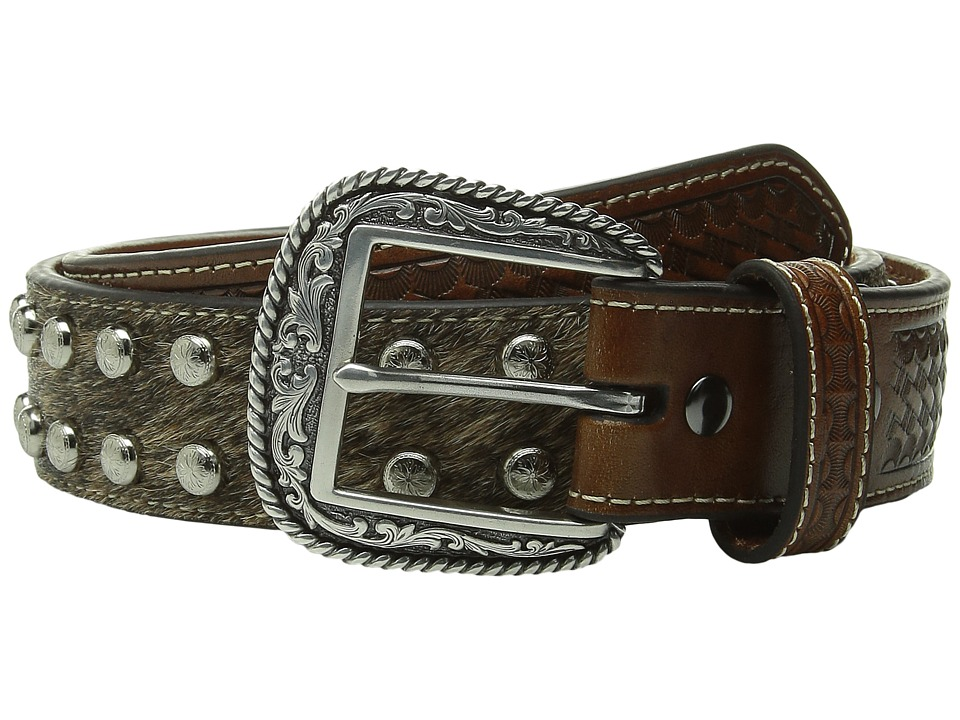 Ariat - Studded Concho Hair Calf Belt (Brown) Men's Belts