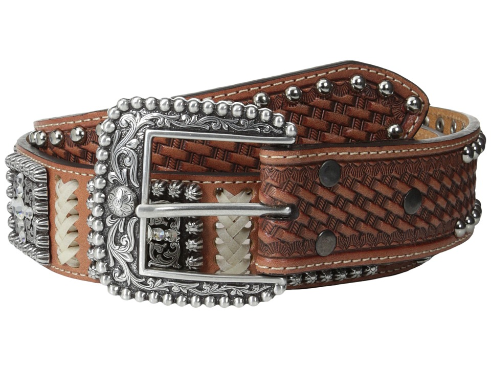 Ariat - Rawhide Lacing Square Concho Belt (Natural) Men's Belts