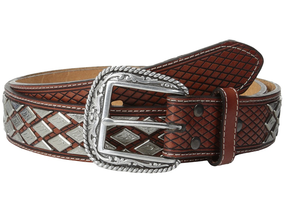 Ariat - Diamond Nailhead Basket Weave Belt (Natural) Men's Belts