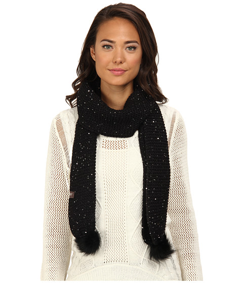 UGG - Lyla Sequin Scarf with Pom (Black M) Scarves
