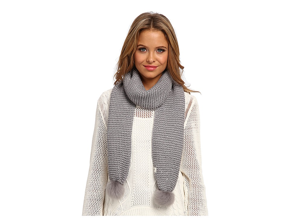 UGG - Lyla Sequin Scarf with Pom (Grey Heather M) Scarves