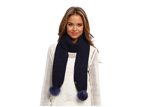 UGG - Lyla Sequin Scarf with Pom (Peacoat M) Scarves