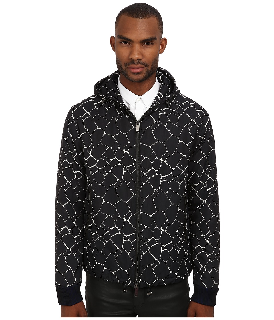 CoSTUME NATIONAL - Printed Jacket w/ Hoodie (White/Black) Men's Jacket