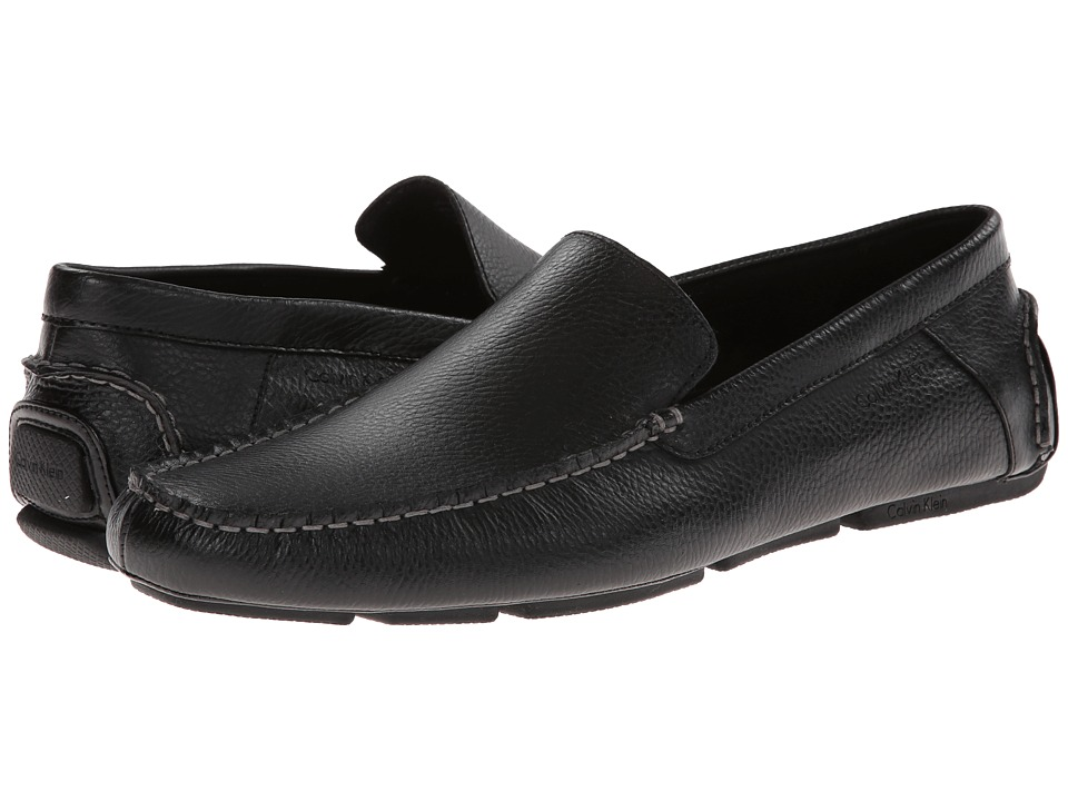 Calvin Klein - Menton (Black Tumbled Leather) Men's Slip on Shoes